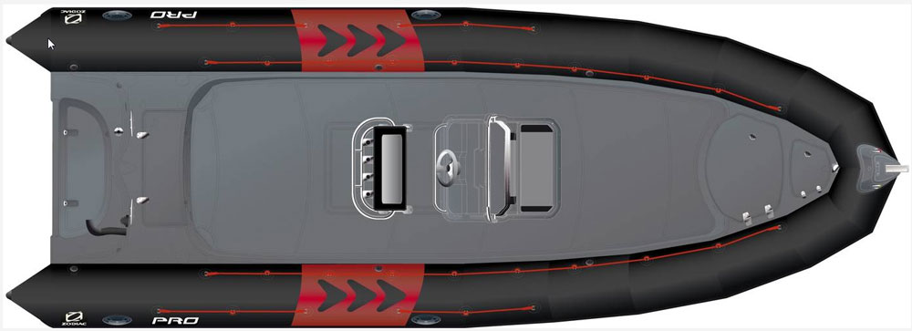 "While the Zodiac Pro 850's basic layout is molded into the ""rigid"" part of the RIB, deck layout and seating is, to some degree, customizable. The Optimum model incorporates a new console and seating."