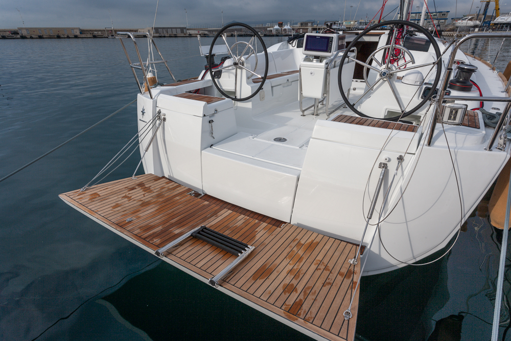 The drop-down swim platform is a highlight of the Sun Odyssey 419. Photo by Diego Yriarte.