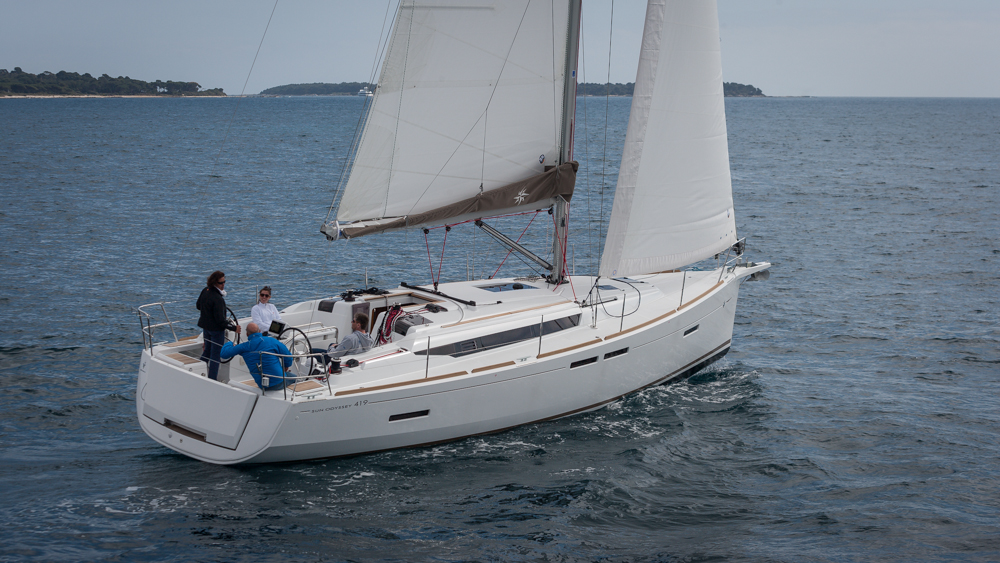 Quick and comfortable, the new Jeanneau Sun Odyssey 419 sails under test near Cannes, France. Photo by Diego Yriarte.