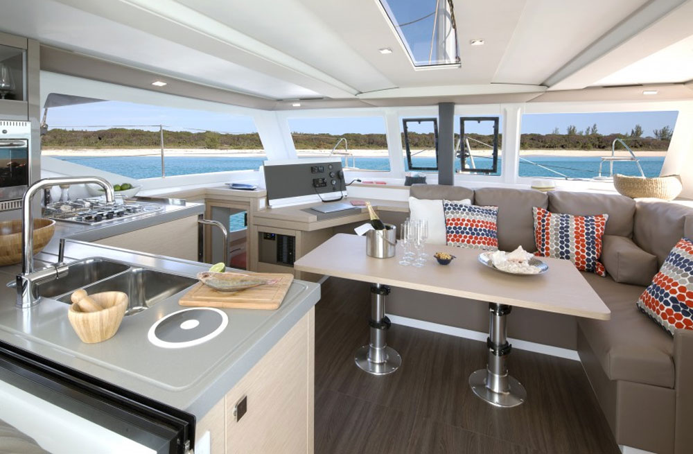 Smart design melds the settee and nav station, eliminating the need for additional nav station seating.