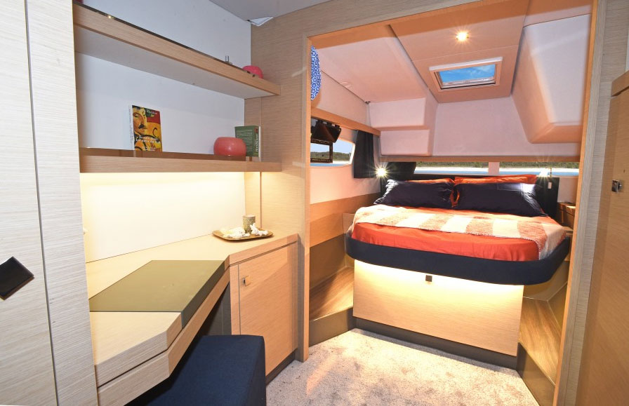 The port hull has two cabins and two heads, neither of which features a shower unless you spec one head with a stall. One configuration will work for charter while the other may make friends and family more comfortable.