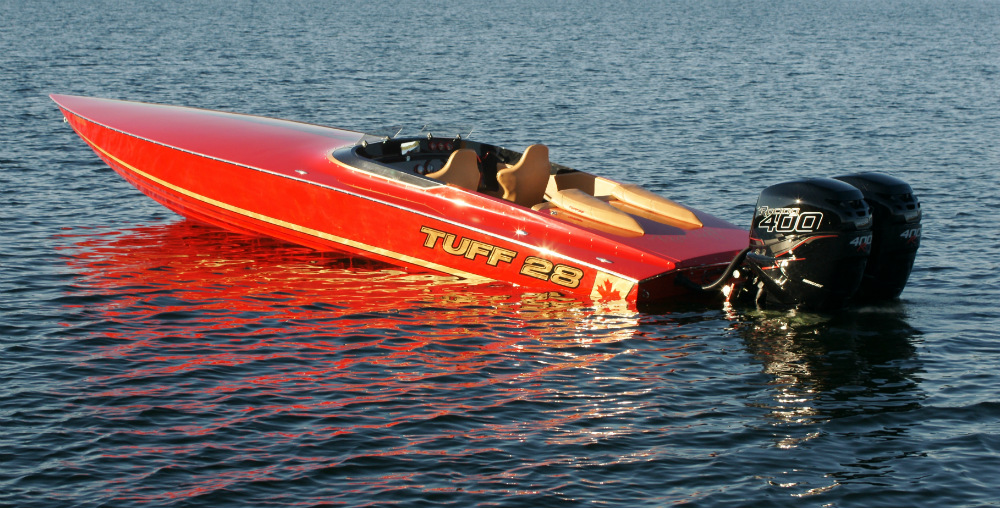 With outboard power, Tuff Marine's latest 28-footer should top 100 mph.