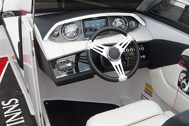 The helm is laid out for flush-mounted electronics, which isn't always the case on bowriders and runabouts.