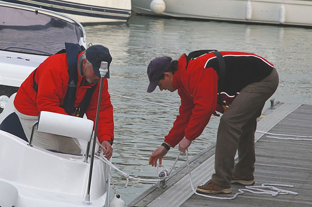 At the final stages never be afraid to ask for help from folks on the dock; it's better to get a hand than to endure a docking disaster.