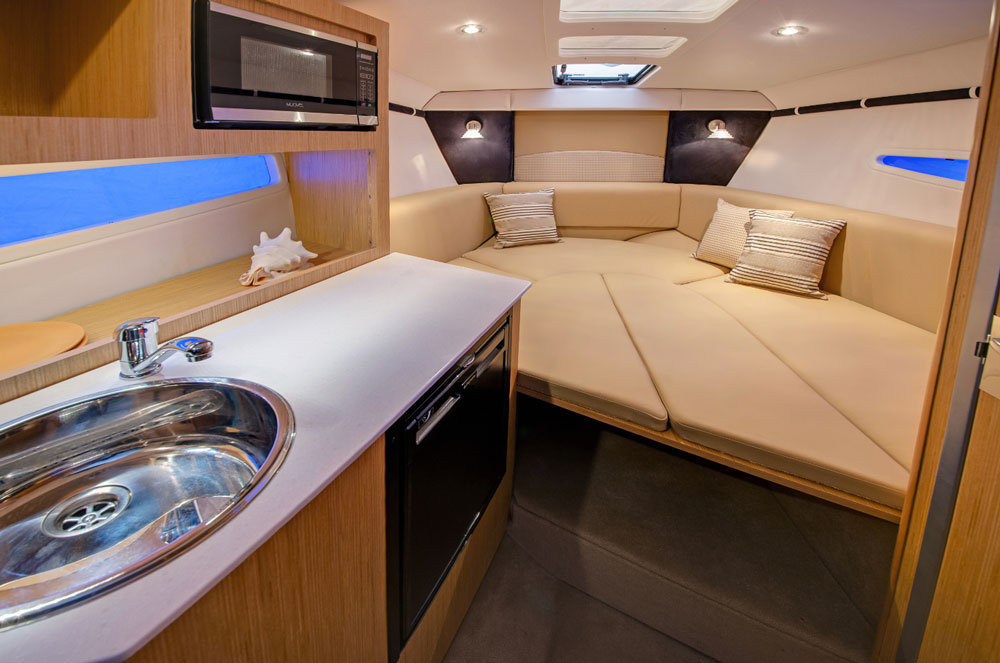 You can tell at a glance, the mid-cabin berth on the GS 259 is significantly larger and roomier than a pocket cruiser usually provides.