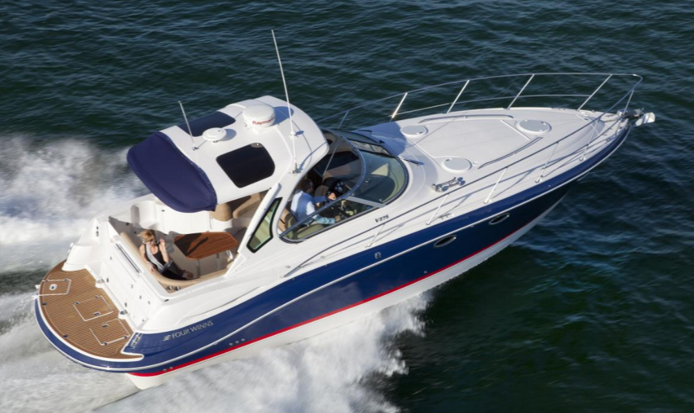 The Four Winns Vista V375 is an example of a mid-size production cruiser that can be ordered new with either gasoline or diesel power. Photo courtesy of Four Winns.