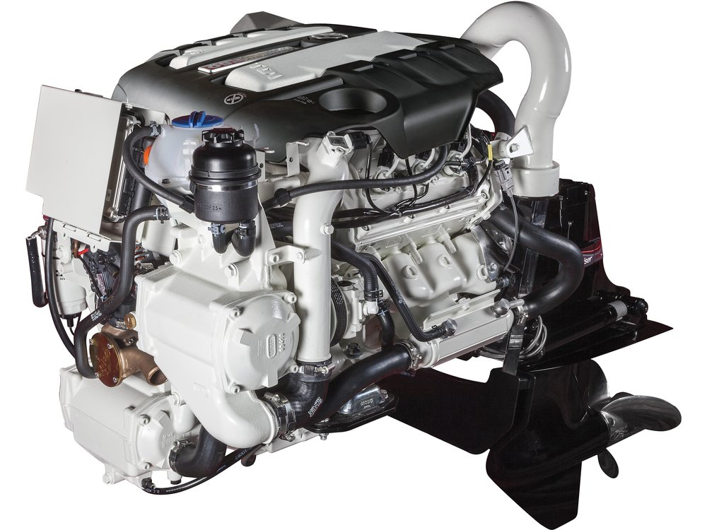 Mercury Marine diesels are based on Volkswagen's well-established TDI engine technology. Shown is a 675-lb 3.0-liter engine mated to a Mercury outdrive. Photo courtesy of Mercury Marine.