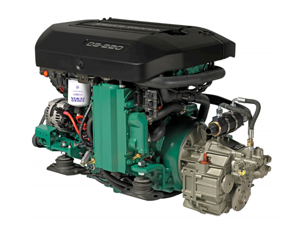 Volvo Penta's D3-220 is one of a series of modern common-rail diesels equipped with electronic controls and intended for a range of marine applications. Photo courtesy of Volvo Penta.