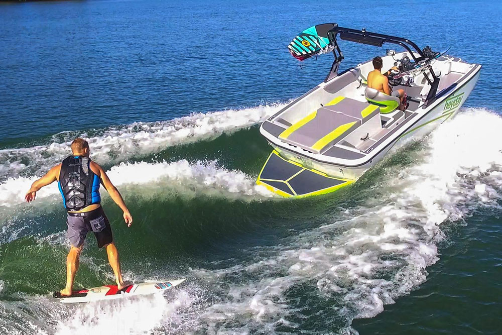 Wakesurfing fun isn't only limited to kids; thanks to a reduced potential for injuries, older people are also discovering how fun it can be to surf behind a boat like the Heyday.