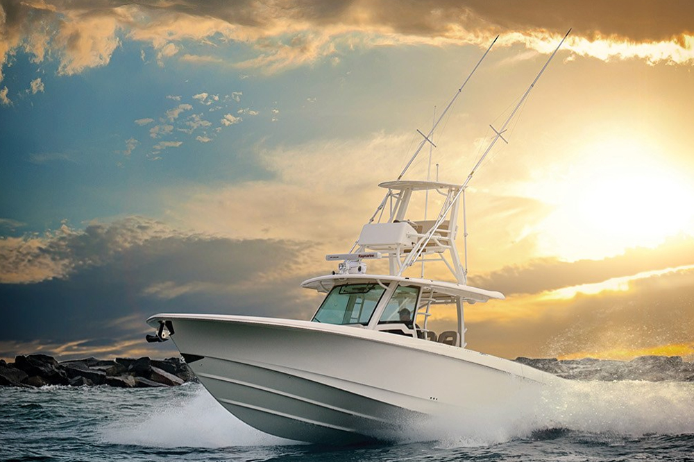 The 380 Outrage has an aggressive deep-V hull design, which chews through the waves.