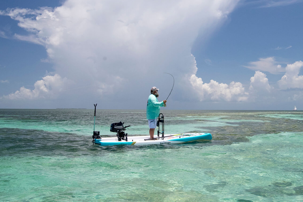 Powered by a six-horse outboard, the BOTE rover can hit 16 MPH and cruise into shallow waters other fishing machines can't touch.