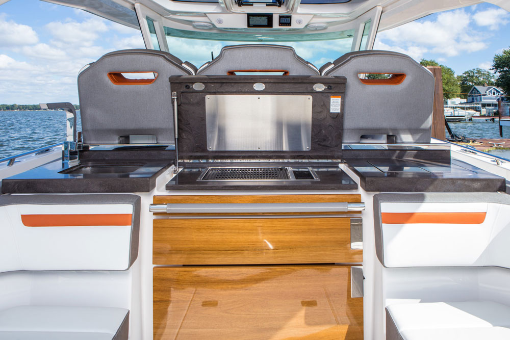 Whether it's lunch on the hook or dinner during a long weekend aboard, the abovedeck galley is ready for action.
