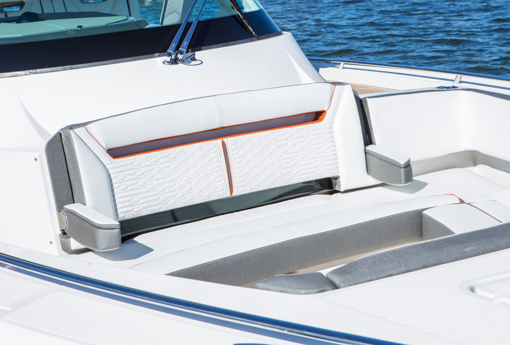 Adding a bow cockpit to a boat of this size does cut down on cabin space, but gives the boat's fun-in-the-sun factor a huge boost.