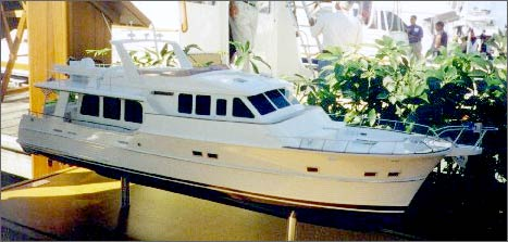 While still in production, a model of the Aleutian Class 64 displays the classic styling of a Grand Banks. (Photo courtesy Oxford Yacht Agency)