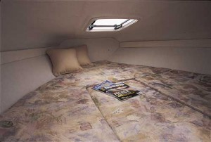 A cuddy cabin generally includes a V-berth for sleeping. (Photo courtesy Glastron)