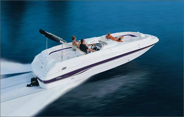 Deck boats maximize open space while retaining much of the recreational versatility of runabouts. (Photo courtesy Chaparral Boats)
