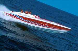 Stepped-bottom hulls reduce wetted running surfaces, which translates to less friction and more speed. Look closely at this offshore performance boat and you can see both steps in its hull. (Photo courtesy Thunderbird Products)