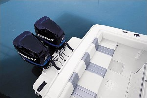 Outboards can be used in single-, twin- and even triple-engine applications. (Photo courtesy Baja Marine)