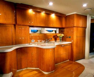 Highlights of the 510 Sundancer's galley include Corian countertops, a microwave/convection oven and a refrigerator/freezer.