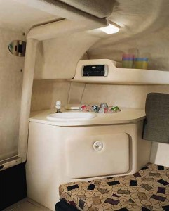 A sink with ample counter space and a cabinet are included in the galley.