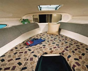 With the filler cushion removed, the V-berth converts to a lounge and dinette area.