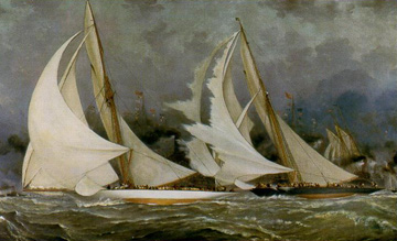 Spinnaker Letting Go: Vigilant vs. Valkyrie II Oct. 13, 1893, by Barlow Moore