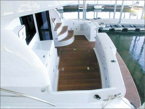 Woodwork is outstanding on the Portofino-style stern.