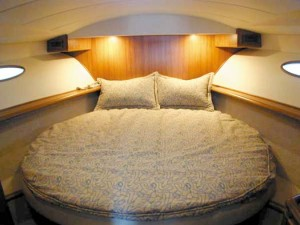 In the simple-yet-elegant master stateroom, there's a queen-size bed and plenty of space.