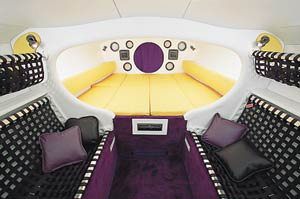 The cabin boasted a futuristic, racing-style interior.