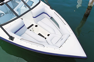 The open bow of the Elite Bowrider can accommodate two reclined passengers.