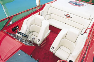 Fountain's in-house-built bolsters and deep bench seat complimented the boat's cockpit.
