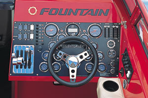 The helm station of the 35' Lightning boasted the classic Fountain horseshoe arrangement of gauges and left-hand throttle placement.