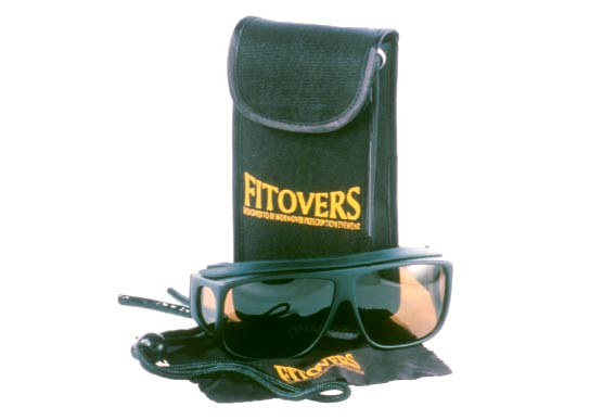 Fitovers are tough plastic frames with polarized lenses that fit over existing eyewear.