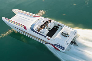 The Mach 26 from Dave's Custom Boats blazed to a 121.2-mph top speed on the radar gun.