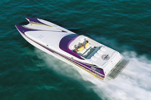 "Measuring 40'2"" long and 10'5"" wide, the Awesome Powerboats 3800 Signature boasted an uncommonly large and comfortable berth."