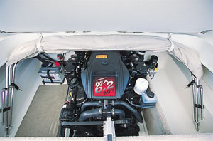 The boat was powered by a MeCruiser small-block engine.