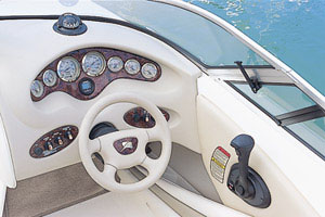 All gauges at the helm were set in a woodgrain panel above the tilt steering wheel.
