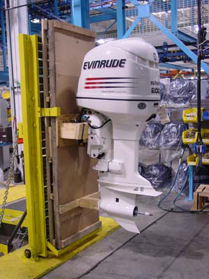 An Evinrude 200-horsepower V-6 outboard engine is packaged for shipping at the new Sturtevant, Wisc., production facility.
