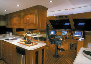 The galley area led to the helm station.
