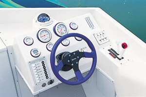 Arranged around the tilt steering wheel at the helm were Gaffrig gauges customized with the Pantera logo.