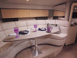 All lounges in the cabin are upholstered in UltraLeather.
