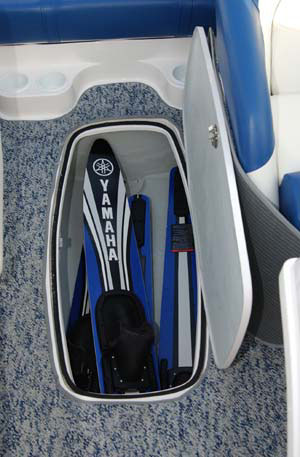 The boat's in-sole locker can accommodate wakeboards and other gear.