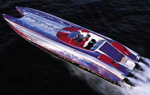 The builder estimated the boat would hit 145 mph, and it came mighty close with its 143.2-mph top end. (Photo by Tom Newby)