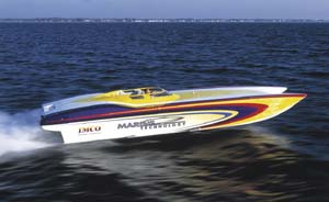 A four-seat aquatic roadster powered by a pair of 675-hp supercharged engines, the 39' Race/Pleasure reached 133.5 mph.