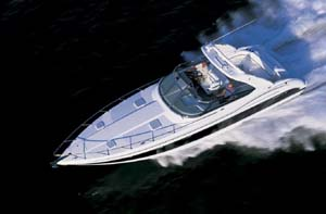 With 850 horsepower in the engine compartment, the 37-footer ran 58 mph in the Gulf of Mexico.