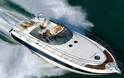The robust sport yacht stretches more than 50 feet and has the fire of more than 1,400 hp in its belly. With a Kevlar-reinforced fiberglass hull, the Mediterranee 50 is ready to take on whatever is thrown its way.