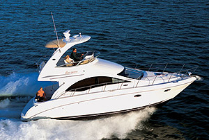 Sea Ray puts a pair of MerCruiser 8.1S Horizon gas engines, rated at 370 hp each, in the 36 Sedan Bridge as standard power. They moved our test boat along nicely.