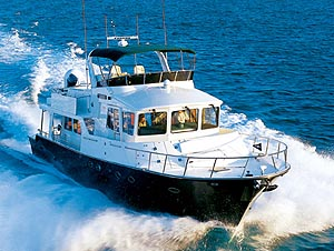 The 63 Pilothouse has a spacious bi-level flybridge for entertaining and cruising under clear skies.
