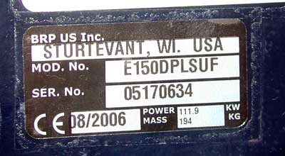 Johnson outboard motor serial number lookup impremedia the serial number sticker on this brp evinrude outboard also includes the motors date of publicscrutiny Image collections
