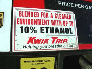 A sign of the times. In most states, pumps dispensing ethanol-blend fuel must have a label like this one.